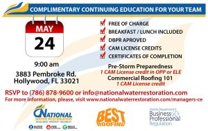 Complimentary Continuing Education Classes @ National Water Restoration | Hollywood | Florida | United States